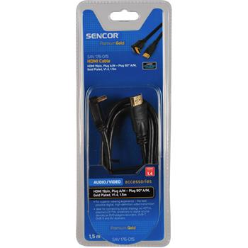 SENCOR HDMI kabel,19 pin,Konektor A/M - konektor 90° A/M,Pozlacený, kabel, V1.4,(ARC),(HEC)