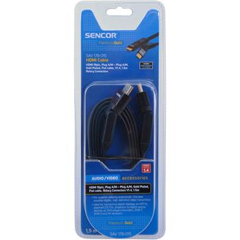 SENCOR HDMI kabel,19 pin,Konektor A/M - konektor A/M,Pozlacený - rotační 360°,Plochý kabel,V1.4,(ARC),(HEC)